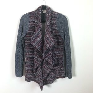 Lucky Brand drapey marled red knit cardigan